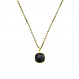 Halskette mit quadratischem, schwarzem Onyx Anhänger - vergoldet
