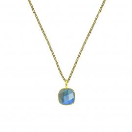 Halskette mit quadratischem Labradorit Anhänger - vergoldet