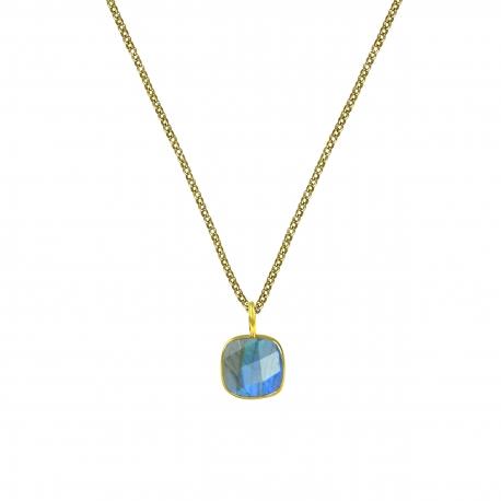 Halskette mit quadratischem, grünem Onyx - vergoldet