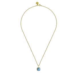 Necklace with square green onyx pendant - gold plated