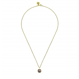 Necklace with square brown smoky quartz pendant - gold plated