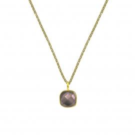 Halskette mit quadratischem, braunem Rauchquarz Anhänger - vergoldet