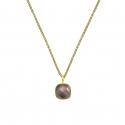 Halskette mit quadratischem, braunem Rauchquarz - vergoldet