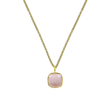 Halskette mit quadratischem, rosa Chalcedon Anhänger - vergoldet