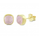 Necklace with square pink chalcedony pendant - gold plated