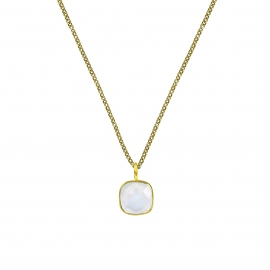 Halskette mit quadratischem, türkisem Aqua Chalcedon Anhänger - vergoldet