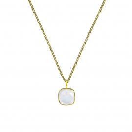Halskette mit quadratischem, weissem Mondstein Anhänger - vergoldet