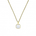 Necklace with square turquoise aqua chalcedony pendant - gold plated