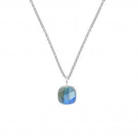 Halskette mit quadratischem Labradorit Anhänger - Silber