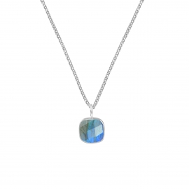 Necklace with square labradorite pendant - gold plated