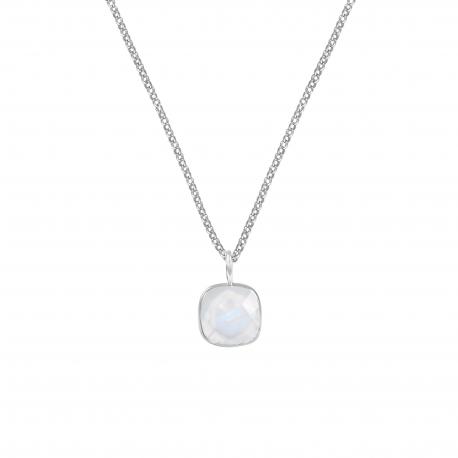 Halskette mit quadratischem weissem Mondstein Anhänger - Silber