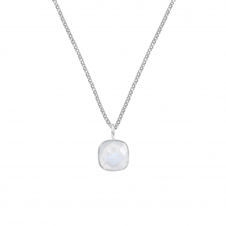 Necklace with square white moonstone pendant - SIlver