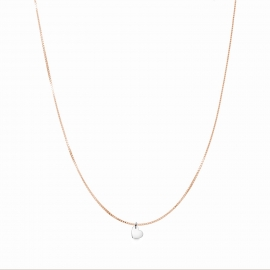 Minimalistic necklace with small heart charm - bicolor: roségold + silver