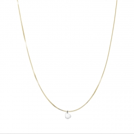 Minimalistic necklace with small heart charm - bicolor: gold + silver