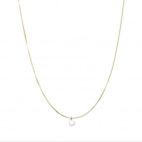 Minimalistische Halskette mit kleinem Herz Anhänger - bicolor: gold + silber