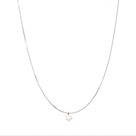 Minimalistic necklace with small heart charm - bicolor: silver + rosegold
