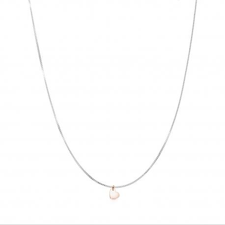 Minimalistische Halskette mit kleinem Herz Anhänger - bicolor: silber + roségold