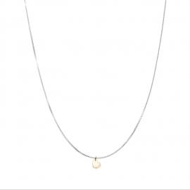 Minimalistische Halskette mit kleinem Herz Anhänger - bicolor: silber + gold