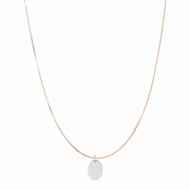 Minimalistic necklace with small oval charm - rosegold