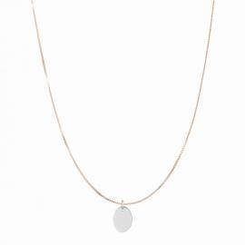 Minimalistische Halskette mit kleinem ovalem Anhänger - roségold