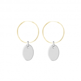 Minimalistic necklace with small oval charm - gold + silver