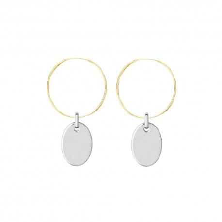 Minimalistische Halskette mit kleinem ovalem Anhänger - gold + silber