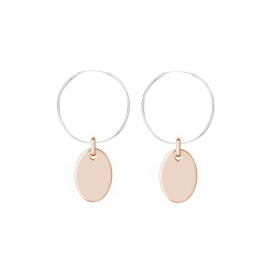 Minimalistic earrings with oval charms - bicolor: silver + rosegold