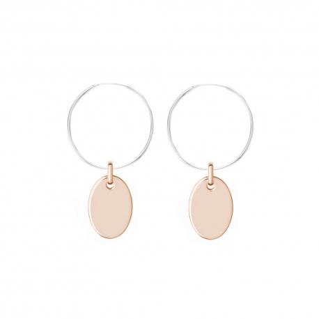 Minimalistische Ohrringe mit ovalen Anhängern - bicolor: silber + roségold