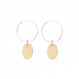Minimalistic earrings with oval charms - bicolor: silver + gold