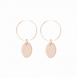 Minimalistic earrings with oval charm - rosegold