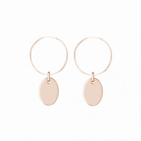 Minimalistische Ohrringe mit ovalen Anhängern - roségold