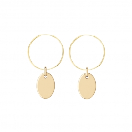 Minimalistic earrings with oval charm - gold