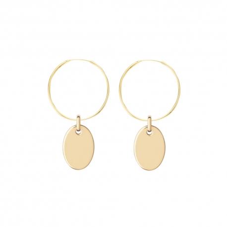 Minimalistische Ohrringe mit ovalen Anhängern - gold