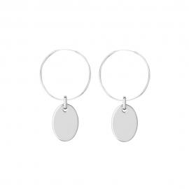 Minimalistische Ohrringe mit ovalen Anhängern - Silber