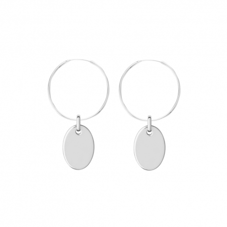 Minimalistic earrings with oval charm - Silver
