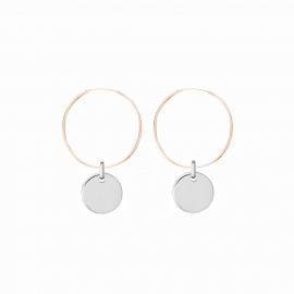 Minimalistic earrings with round charm - bicolor: rosegold + silver