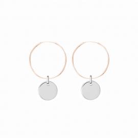 Minimalistische Ohrringe mit runden Anhängern - bicolor: roségold + silber