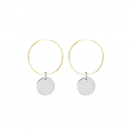 Minimalistic earrings with round charm - bicolor: gold + silver