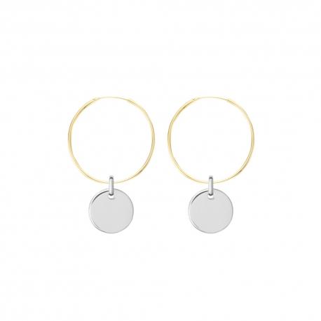 Minimalistische Ohrringe mit runden Anhängern - bicolor: gold + silber