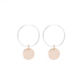 Minimalistic earrings with round charm - bicolor: silver + rosegold