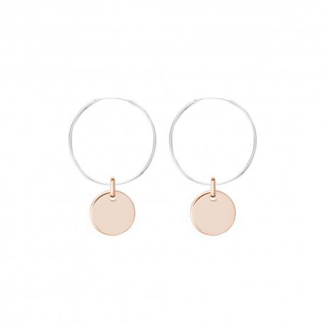 Minimalistische Ohrringe mit runden Anhängern - bicolor: silber + roségold
