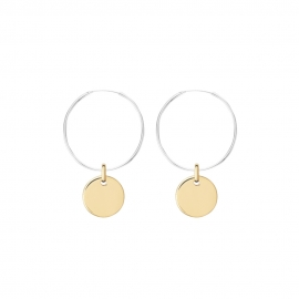 Minimalistic earrings with round charm - bicolor: silver + gold