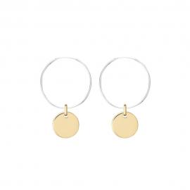 Minimalistische Ohrringe mit runden Anhängern - bicolor: silber + gold