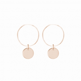 Minimalistic earrings with round charm - rosegold