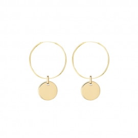 Minimalistic earrings with round charm - gold