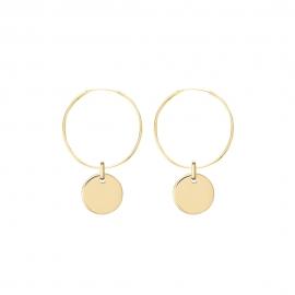 Minimalistische Ohrringe mit runden Anhängern - gold
