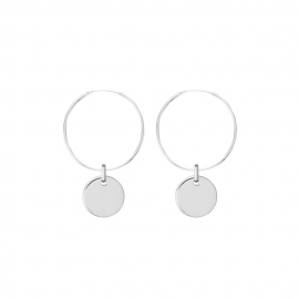 Minimalistic earrings with round charm - silver