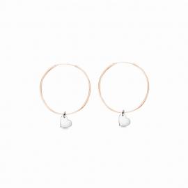 Minimalistische Ohrringe mit Herz Anhängern - bicolor: roségold + silber