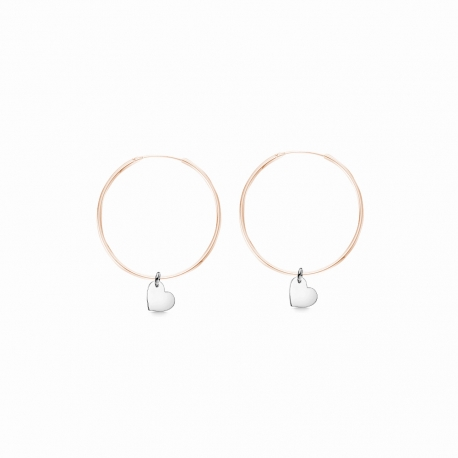 Minimalistic earrings with heart charms - bicolor: rosegold + silver