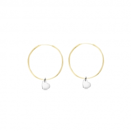 Minimalistic earrings with heart charms - bicolor: gold + silver